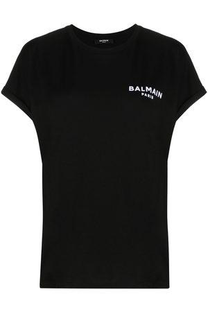 Balmain Women T-shirts - Small flocked logo T-shirt