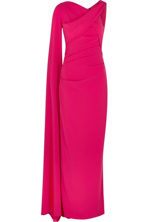 TALBOT RUNHOF Rosedale fuchsia cape-effect gown