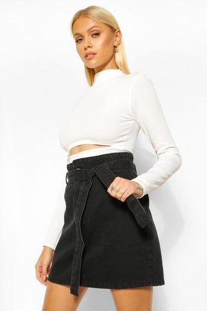 Boohoo Womens Denim Paperbag Belted Denim Skirt - - 2