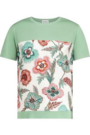 Salvatore Ferragamo Floral wool and silk T-shirt