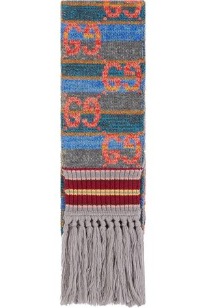 Gucci Striped wool lamé scarf - Grey