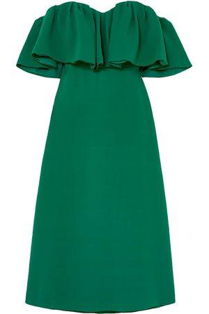LELA ROSE Woman Off-the-shoulder Ruffled Silk-crepe Midi Dress Forest Size 10