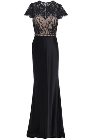 Catherine Deane Woman Lace-paneled Cotton-blend Satin Gown Size 10