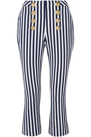 Balmain Women Wide Leg Pants - Woman Cropped Button-embellished Striped Cotton-twill Flared Pants Navy Size 34