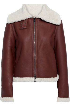THEORY Woman Shearling Biker Jacket Burgundy Size L