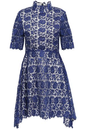 Catherine Deane Woman Jeanne Fluted Guipure Lace Mini Dress Royal Size 10