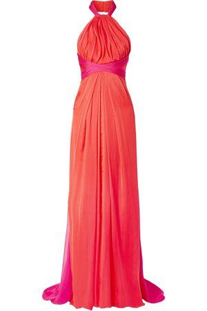 BRANDON MAXWELL Woman Gathered Two-tone Silk-chiffon Halterneck Gown Fuchsia Size 10