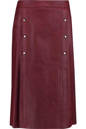 IRIS & INK Woman Monica Leather Skirt Burgundy Size 6