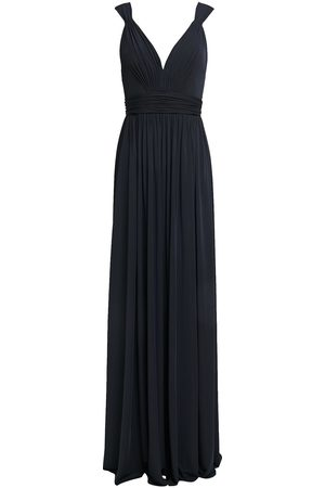 Catherine Deane Woman Caterina Tulle-trimmed Gathered Crepe-jersey Gown Midnight Size 10
