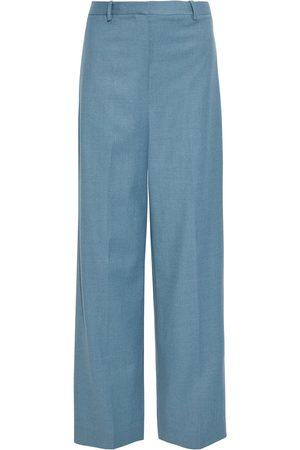 THEORY Women Wide Leg Pants - Woman Wool-flannel Wide-leg Pants Slate Size 10