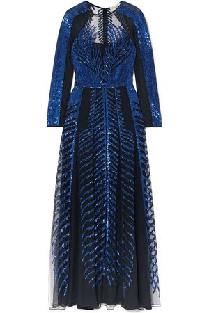 TEMPERLEY LONDON Women Maxi Dresses - Woman Dusk Sequined Tulle And Silk-chiffon Maxi Gown Midnight Size 16