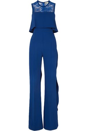 Elie saab Woman Ruffled Lace-paneled Stretch-crepe Jumpsuit Bright Size 38