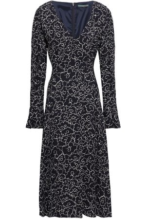 AlexaChung Woman Printed Crepe Midi Dress Midnight Size 10