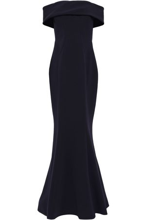 ZAC Zac Posen Women Strapless Dresses - Woman Off-the-shoulder Fluted Crepe Gown Navy Size 14