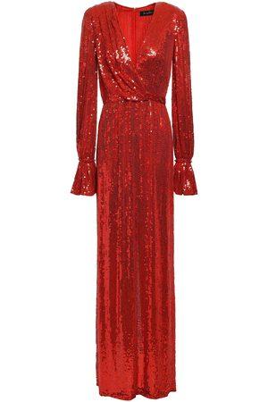 Jenny Packham Women Evening dresses - Woman Wrap-effect Embellished Silk Crepe De Chine Gown Size 6