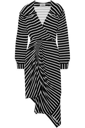 THORNTON BREGAZZI Women Asymmetrical Dresses - Woman Annabel Asymmetric Ruched Striped Stretch-jersey Dress Size XS