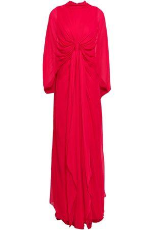 Reem Acra Women Evening dresses - Woman Cape-effect Knotted Silk-chiffon Gown Size 8