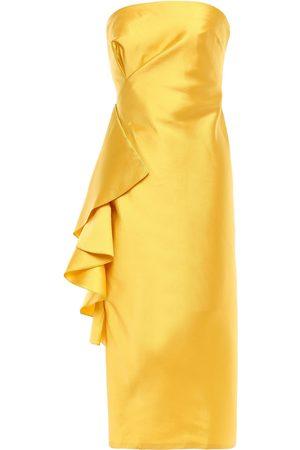 Sachin & Babi Woman Strapless Ruffled Satin-twill Midi Dress Saffron Size 6