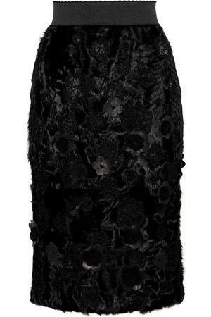 Dolce & Gabbana Woman Floral-appliquéd Embroidered Shearling Pencil Skirt Size 44