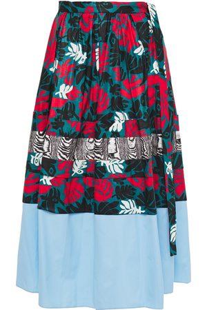 Marni Woman Poplin-paneled Printed Cotton And Linen-blend Midi Skirt Teal Size 38