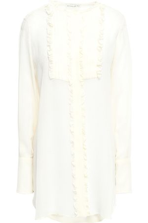 Etro Women Blouses - Woman Ruffled Pintucked Silk-crepe Blouse Ivory Size 40