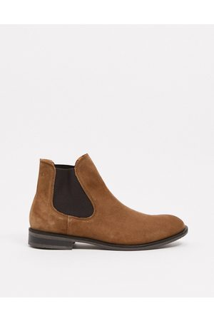 Selected Suede chelsea boot in tan