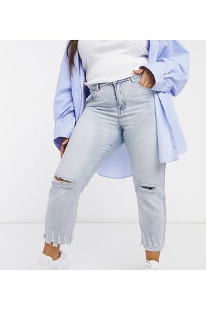 Glamorous Relaxed jeans in bleached stonewash denim with distressing