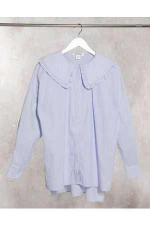 Glamorous Relaxed shirt in pinstripe with peter pan frill collar