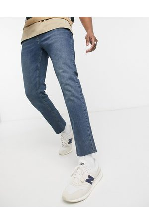 ASOS Stretch slim jeans in tinted mid with raw hem