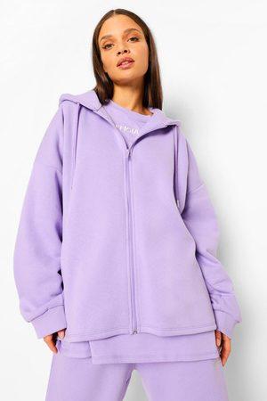 Boohoo Women Hoodies - Womens Oversized Slogan Zip Through Hoodie - - 2
