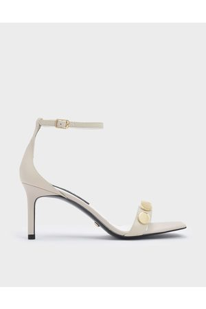 CHARLES & KEITH Chrome Button Detail Leather Stiletto Sandals