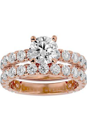 SuperJeweler 4 Carat Round Moissanite Bridal Ring Set in 14K (6.50 g)