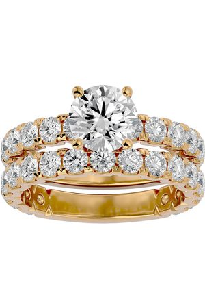 SuperJeweler 3 1/2 Carat Round Moissanite Bridal Ring Set in 14K (6 g)
