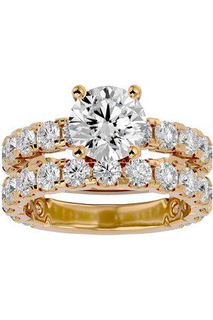 SuperJeweler 5 Carat Round Moissanite Bridal Ring Set in 14K (6.50 g)