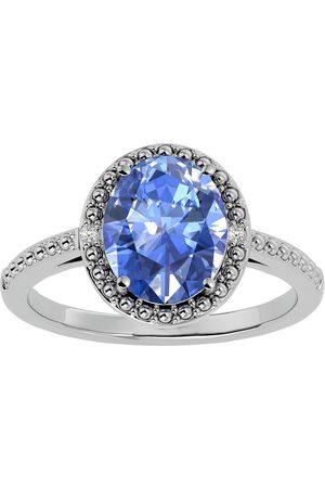 SuperJeweler 3 1/2 Carat Oval Shape Created Tanzanite & Halo 2 Diamond Ring in Sterling Silver