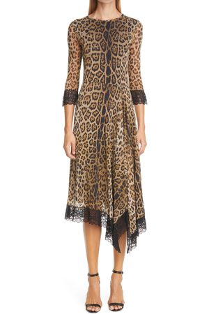 FUZZI Women's Leopard Print Lace Trim Asymmetrical Mesh Dress