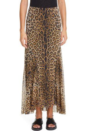 FUZZI Women's Leopard Print Mesh Maxi Skirt