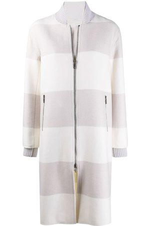 LORENA ANTONIAZZI Caban striped coat - Neutrals