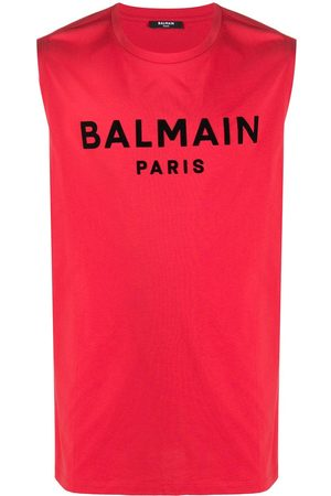 Balmain Flocked logo tank top