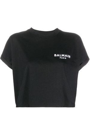 Balmain Logo-embroidered cropped T-shirt