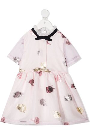 HUCKLEBONES LONDON Girls Printed Dresses - Metallic floral print flared dress