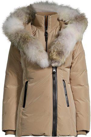 Mackage Women's Adali Coyote Fur-Trim Coat - Camel - Size Medium