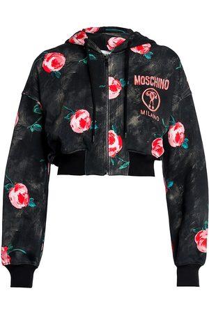 Moschino Women's Floral Cropped Zip Sweatshirt - - Size 48 (14)