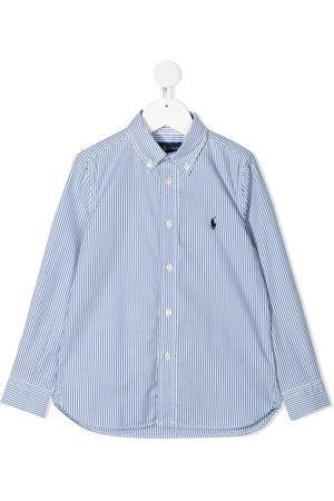 Ralph Lauren Kids Boys Shirts - Logo-patch stripe shirt