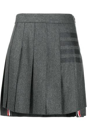 Thom Browne 4-Bar pleated flannel mini skirt - Grey