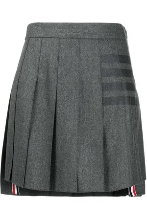 Thom Browne 4-Bar print pleated mini skirt - Grey