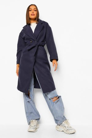 Boohoo Womens Double Breasted Belted Wool Look Coat - - 4