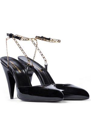 Saint Laurent Kika chain-trimmed leather pumps