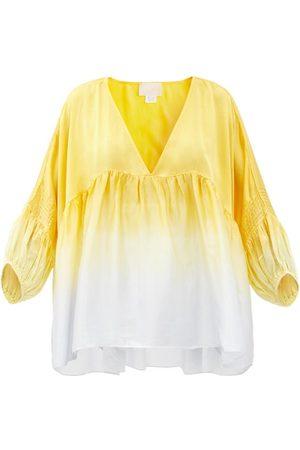 Anaak Women Blouses - Raj Balloon-sleeve Dip-dyed Silk Blouse - Womens - Multi