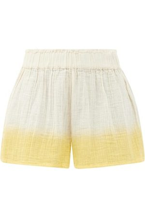 Anaak Aria Buttoned-side Dip-dyed Cotton Shorts - Womens - Multi